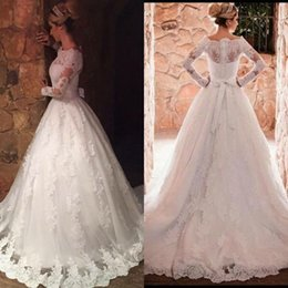Wholesale Bridal Chic Gowns - 2017 Chic New Lace A Line Wedding Dresses Elegant Off Shoulders Appliqued Long Sleeves Cheap Bridal Gown with Bow Sash BA6349