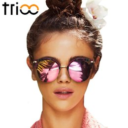 Wholesale Copper Shades - Wholesale-TRIOO High Fashion Round Mirror Sunglasses Glasses Brand Semi-Rimless Stylish Women Sunglases Retro Female Chic Shades