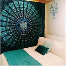Wholesale Decorative Hang Wall - 82*59 Inch Bohemian Mandala Tapestry Peacock Yoga Mat Wall Decorative Hanging Tapestries Beach Towel Tassel Throw Rug Blanket Gift