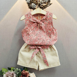 Wholesale Girls Piece Set Bow - GANI Girls Clothing Sets Bow Butterfly Sleeveless Vest Floral Shorts Two-piece Kids Clothing Sets Summer 3-8T