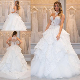 Wholesale Zipper Magazine - Glamour Magazine Pnina Tornai Lace Princess modest wedding dresses 2017 pearls tiered skirts sweetheart lace-up corset bridal gowns