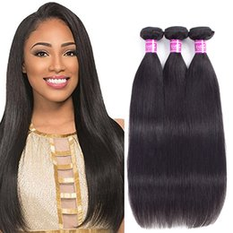 Wholesale Natural Hair Color Dyes - Ushine Brazilian Virgin Straight Hair Bundle 100% Unprocessed Human Hair Weave Extensions Natural Color Can Be Dyed and Bleached