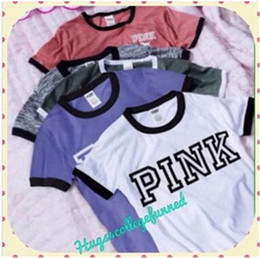Wholesale Wholesale Pink Long Sleeve Shirts - DHL 2017 Summer VS Secret Love Pink Customizable labels Women T Shirt Tumblr Instagram Harajuku Tops Tee Femme Teen Girls Clothing