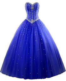 2017 New Elegante Ball Gown Tulle Abiti Quinceanera Con Perline Dolce 16 Abiti 15 Anni Prom Abiti Da Festa WD1015 da abito adulto dolce fornitori
