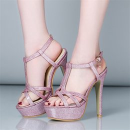 Wholesale High Heels Size 32 - Sandals PU Woman's shoes Big 45 46 47 Small 31 32 33 High Heel 13CM Platform 3.5CM EUR Size 30-48