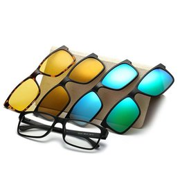 Wholesale Custom Magnetic - Wholesale- Include Frame Polarized Clip On Sunglasses Men TR90 Custom Prescription Glasses Frame Magnetic Clips Night Glasses Drive Magnet
