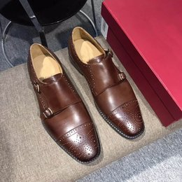 Wholesale Monk Strap Shoes Men - Dress shoes Monk shoes oxford custom handmade shoes genuine calf leather color brown double buckles new arrivalsize: 38-45 US4-11