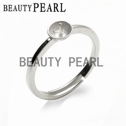 Wholesale Jewelry Making Rings - 5 Pieces Simple Ring Jewelry Findings Sterling Silver 925 Stamped for DIY Making Pearl Ring Mount