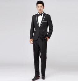 Wholesale Coat Tie For Men - Khaki white black grey wedding dress 2017 new arrival men slim fit suits for men latest coat pant designs suit + pant + tie