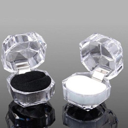 Wholesale Earring Ring Holder - Hot Jewelry Package Boxes Ring Holder Earring Display Box Acrylic Transparent Wedding Packaging Storage Box Cases
