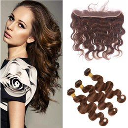Wholesale Chocolate Brown Brazilian Hair - 9A Chocolate Brown Mink Brazilian Body Wave Virgin Human Hair Bundles With Color #4 Medium Brown 13*4 Ear To Ear Lace Frontal Closure