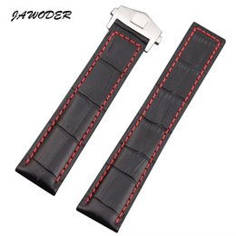 Wholesale Watch Genuine - JAWODER Watchband 19 20 22mm Black Brown Crocodile Lines Genuine Leather Watch Band Strap Stainless Steel Deployment Buckle for TAG