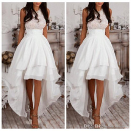 Wholesale Vintage Halter Tops - In Stock Halter A-Line High Low Prom Dresses Ivory Chiffon Homecoming Dress Cheap Evening Dress Lace Top