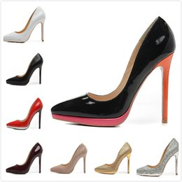 Wholesale Womens Red Platform Shoes - Fashion new Womens Sexy 12cm Platform High Heels,Ladies wedding shoes with Thin Heels 35-42 Free shipping