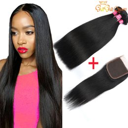 Wholesale Straight Brazilian Lace Closure - Brazilian Straight Hair With Closure 8a Brazilian Virgin Hair 3 Bundles With Lace Closure 4x4 Brazilian Lace Closure With Bundles Human Hair
