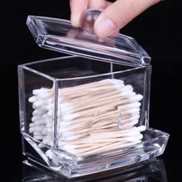 Wholesale Q Tip Cases - Wholesale- 2016 Fashion Clear Acrylic Cotton Swab Organizer Box Cosmetic Holder Q-tip Makeup Storage Case Spools Organizer Hotel Supplies