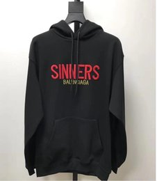 Wholesale Long Classic Winter Coats - Fashion brand New Color box logo hoodie Hip Hop Streetwear Classic embroidery letter marka Fleece Hoodie Autumn Winter sinners hoody Coat