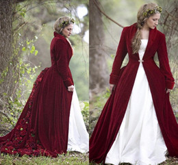 Wholesale Long Dress Winter Bridal Coats - 2017 Winter Christmas Ball Gown Wedding Dresses Cloaks Burgundy Velvet Long Sleeves Flowers vintage gothich Bridal Gowns With Jacket Coat