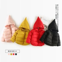Wholesale Outwear Kids Jacket - Ins Winter kids girl boy solid color o-neck long sleeve cotton jacket child thick warm zipper jacket coat with caps kids winter outwear coat