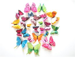 Wholesale Stickers Three - 2017 Wholesale 12pcs bag fashion color double butterfly magnet fridge sticker Home background corridor three-dimensional 3D Sticker Decor