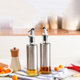 Wholesale Stainless Steel Wine Container - Stainless Steel Olive Oil Bottles Seasoning Oil Container Storage Bottle Sauce Vinegar Wine Glass Bottle Kitchenware