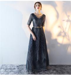 Wholesale Cheap Tailored Dresses - Cheap Navy Blue Elegant Long Evening Prom Dress 2017 Quality Sequins Golden Half Sleeve Slim Formal Dress Tailor Made 5 Colors Belt Free