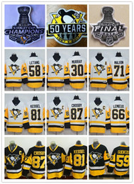 Wholesale 87 Polyester - 2017 Stanley Cup Final Champions Pittsburgh Penguins Jersey 87 Sidney Crosby 71 Evgeni Malkin 81 Phil Kessel 58 Kris Letang 59 Jake Guentzel