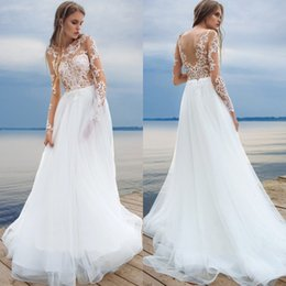 Wholesale Transparent Bodice Wedding Dress - 2017 Beach White Wedding Dresses Long Sleeve Lace Transparent Tulle Bridal Gown Backless Custom Made Covered Button Berta Gowns