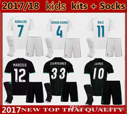 Wholesale Boys School Socks - 2017 2018 kids Kits + socks Real Madrid Soccer Jersey Primary school students Ronaldo Bale uniforms SERGIO RAMOS ISCO Away Football Shirts