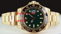 Wholesale 18kt Gold Watches - Luxury AAA Brand Wristwatches Sapphire 40MM 18kt GOLD GMT with GREEN Index Dial - 116718 Ceramic Bezel Automatic Mechanical Mens Watches