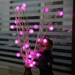 Wholesale Snowflake Christmas Tree Lights - Dried Flowers Tree LED Light Natural Branches 25 Edelweiss Snowflake Strawberry Tree Christmas Room Christmas Ornament Light Garland