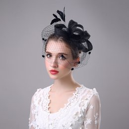 Wholesale Portrait Photos - Fashion Bride Hair Bow Hat Wedding Veil Photo Portrait Flower Feather Headdress Hairpin Gauze Cover The Face