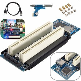 Wholesale Usb Pci Slot - Hot PCIe x1 x4 x8 x16 to Dual PCI slots adapter pci express to 2 pci card With USB 3.0 Extender Cable for serial parallel sound card
