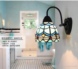 Wholesale Mediterranean Bedside Lamps - American iron lamp wall pastoral Mediterranean bathroom mirror headlights Nordic Tiffany aisle bedroom bedside wall lamp