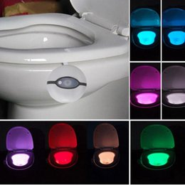 Wholesale Sound Sensor Activates Led - Newest Sensor Toilet Light LED Lamp Human Motion Activated PIR 8 Colours Automatic RGB Night lighting 2nd gerneration
