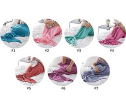Wholesale Crochet Thread Wholesale - 7 Colors 140*70cm Kids Handmade Knitted Mermaid Blankets Mermaid Tail Blanket Crochet Blanket Throw Bed Wrap wen4362