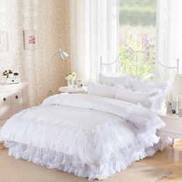 Wholesale Purple Queen Bedspread - 4Pieces White Lace Bedspread Princess Solid Color Lacework Bedding Set King Queen Size Bed Set Cotton Duvet Cover Bed Skirt Home Textile