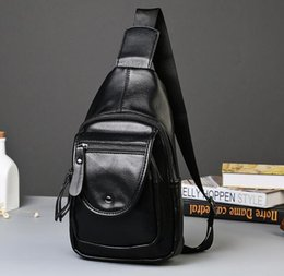 Wholesale Men Body Paint - brand package soft leather men inclined shoulder bag personality fashion men chest package paint outdoor leisure mens single shoulder bag