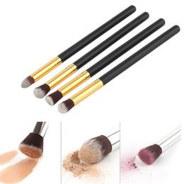 Wholesale Ferrule Kit - DHL Free Shipping 4Pcs Wood Makeup Brush Kit Professional Cosmetic Set Golden Ferrule factory direct wholesale