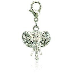 Wholesale Elephant Head Pendants - Fashion Charms With Lobster Clasp Dangle White Rhinestone Elephant Head Pendants DIY Charms For Jewelry Accessories