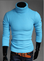 Wholesale flat knit collar - Winter Warm Cashmere Men Sweater Striped Knitted Turn-down Collar Men Pullover Casual Solid Soft Thick Wool Mens Sweater SY148