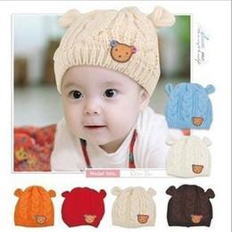 bb28b1264e6 Kids Pom Pom New Woolen cute Twist Button Bear cartoon fisherman Autumn and  winter children s ear hat suit for 3-12 months babys