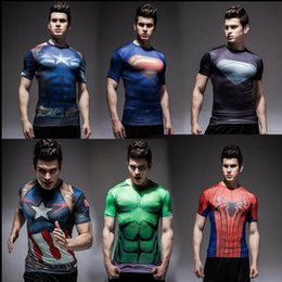 Wholesale America Cool - 2016 2017 tights Rugby jersey fitness workout clothes Iron man captain America superman batman spiderman Cool running Ronaldo Rugby Jerseys