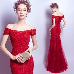 Wholesale Chiffon Dinner Dresses - Wine red lace nail bead strapless off shoulder mermaid fishtail wedding dress the bride wedding toast dinner communion dress