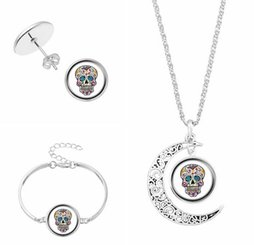 Wholesale Gem Skulls - 2018 Time gem necklace skull Hand catenary Stud earrings Necklace three-piece glass women Jewelry + Free shipping 372