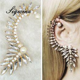 Wholesale Earings Punk Style - New Style Ear Cuff Earrings Punk Pink White Earings Clip On Earrings For Women Ear Cuff Pearl Jewelry Clips For Gift 1Pc Lot