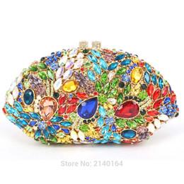 Wholesale Multicolor Evening Bags - Wholesale-Multicolor Luxury Diamond Clutch Bag rhinestone Evening Purse Party Pochette Lady Feast Banquet Bag Women Wedding HandBag 88590