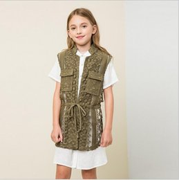Wholesale Girls Crochet Vests - 2017 Big Kids Girls Crochet Lace Vests Teenager Fashion Hallow Out Waistcoats Junior Autumn Winter Christmas Outwear babies clothes