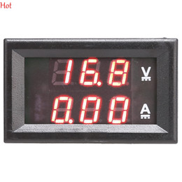 Wholesale Dc Volt Digital Panel Meter - Mini Digital Voltmeter Ammeter DC 100V 10A Panel Amp Volt Current Meter Tester Dual Red LED Display Current Monitor TK1381