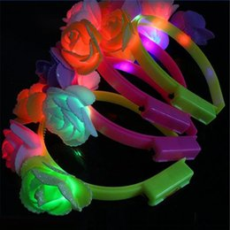 Wholesale Glow Led Toys Rose - Wholesale- Glowing Headband with beauty rose flower for Girl Lady Gift party wedding Christmas Decoration 5pcs lot Saft Led head hoop toys